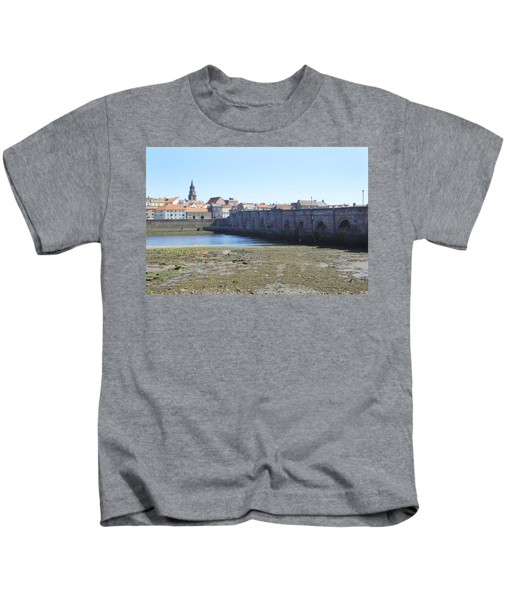Berwick Upon Tweed Kids T-Shirt featuring the photograph old bridge across river Tweed at Berwick-upon-tweed by Victor Lord Denovan