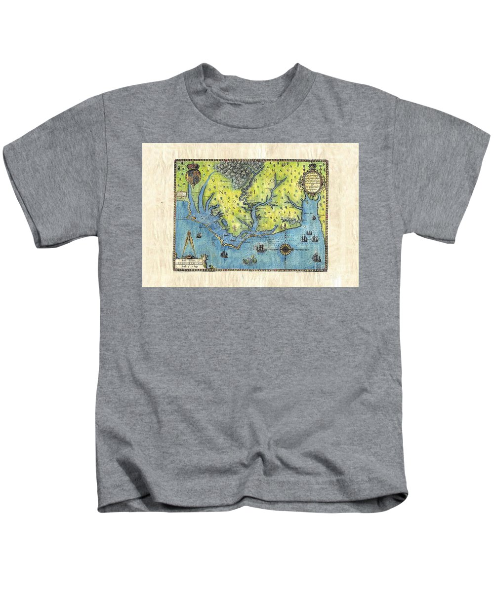 Outer Banks Kids T-Shirt featuring the painting Outer Banks Historic Antique Map Hand Painted by Lisa Middleton