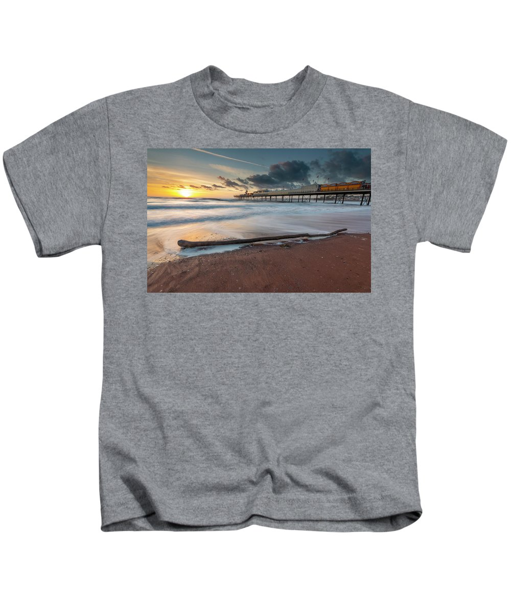 Wood Kids T-Shirt featuring the photograph Paignton Pier by Nigel Martin