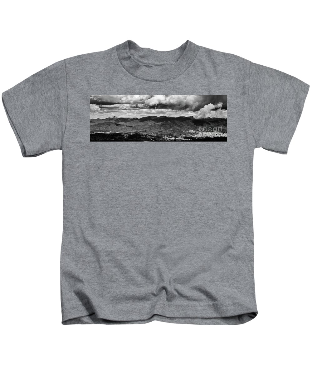 Black And White Kids T-Shirt featuring the photograph Panorama Melodrama by Jorgo Photography - Wall Art Gallery