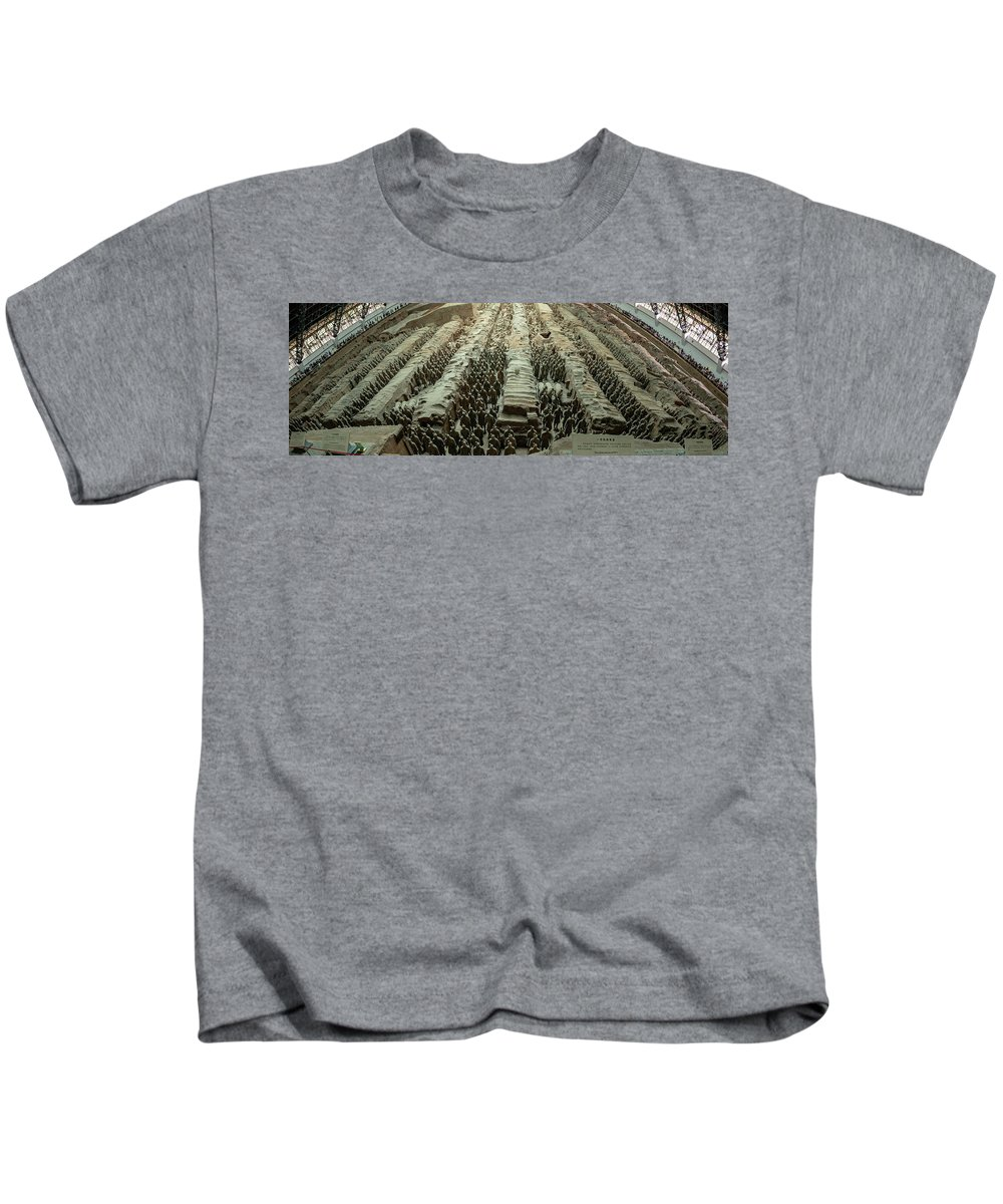 Warrior Kids T-Shirt featuring the photograph Panorama Of Pit 1, Terra Cotta Warriors by Karen Foley