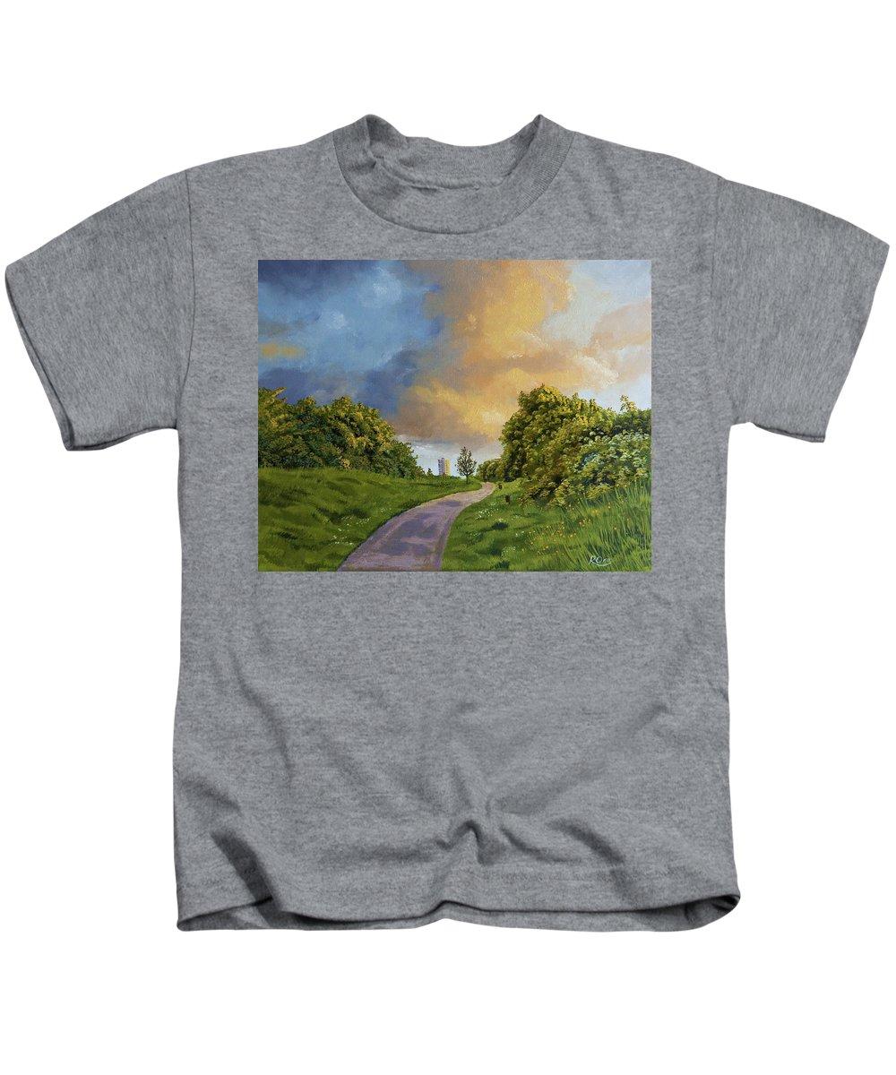 Raymond Ore Kids T-Shirt featuring the painting Railway Park by Raymond Ore