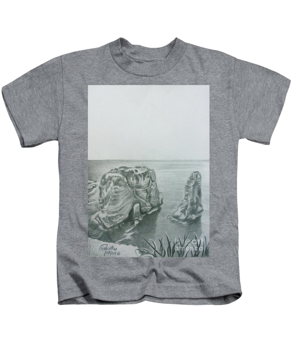 Rock Of Raouche Kids T-Shirt featuring the drawing Raouche Rock-beirut by Mohammad Hayssam Kattaa