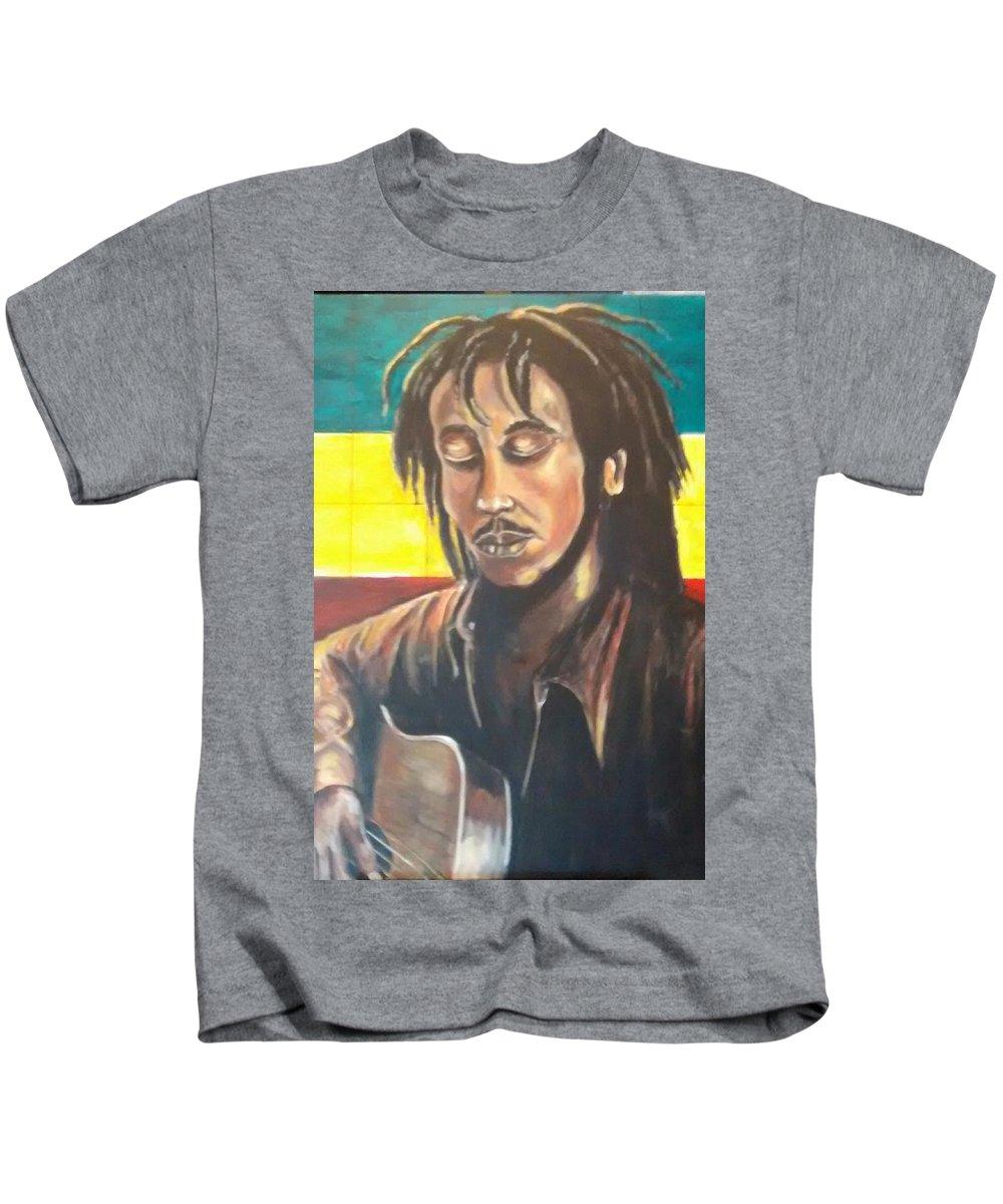 Rasta Art Kids T-Shirt featuring the painting Rasta Music by Andrew Johnson