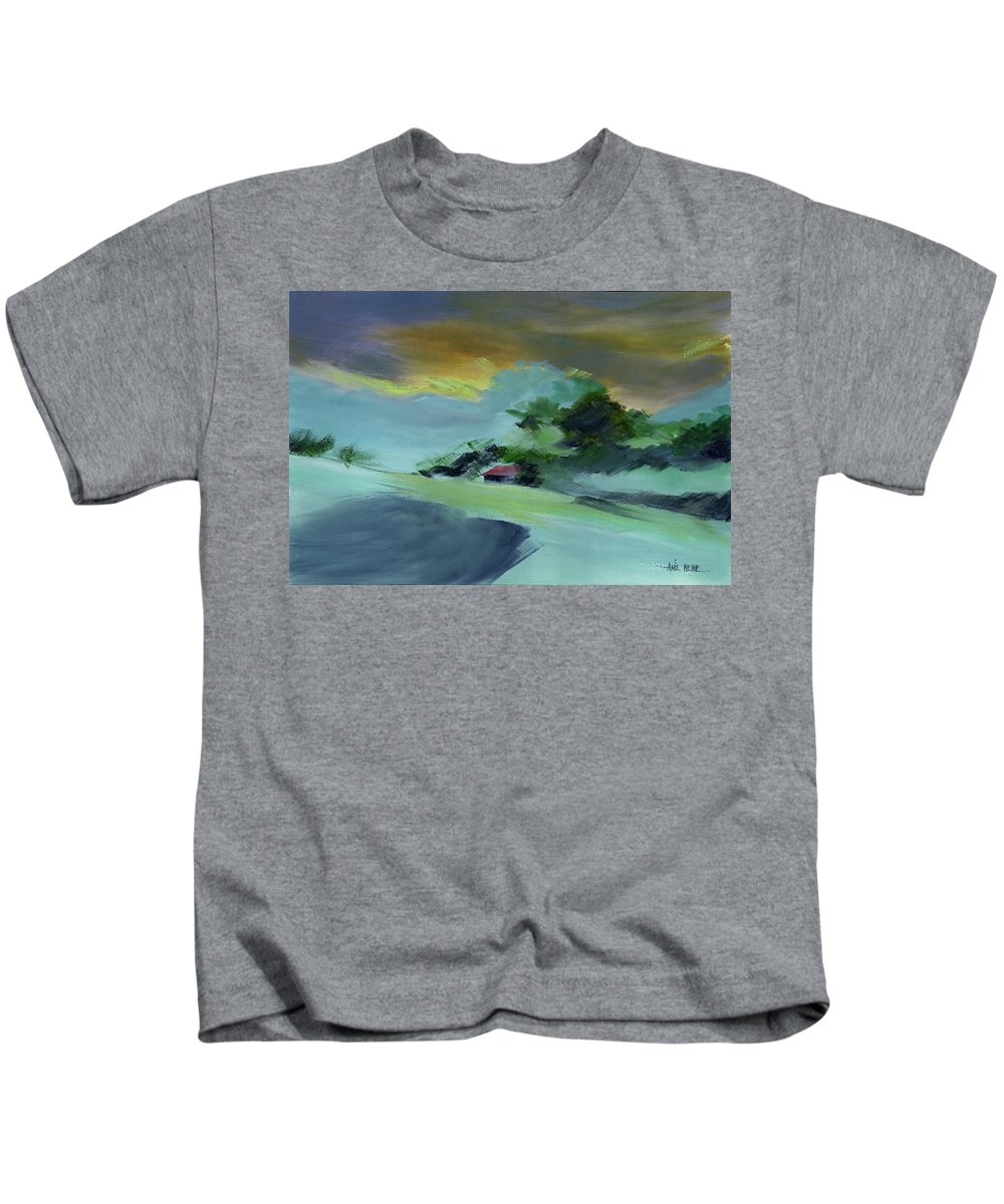 Nature Kids T-Shirt featuring the painting Red House New by Anil Nene