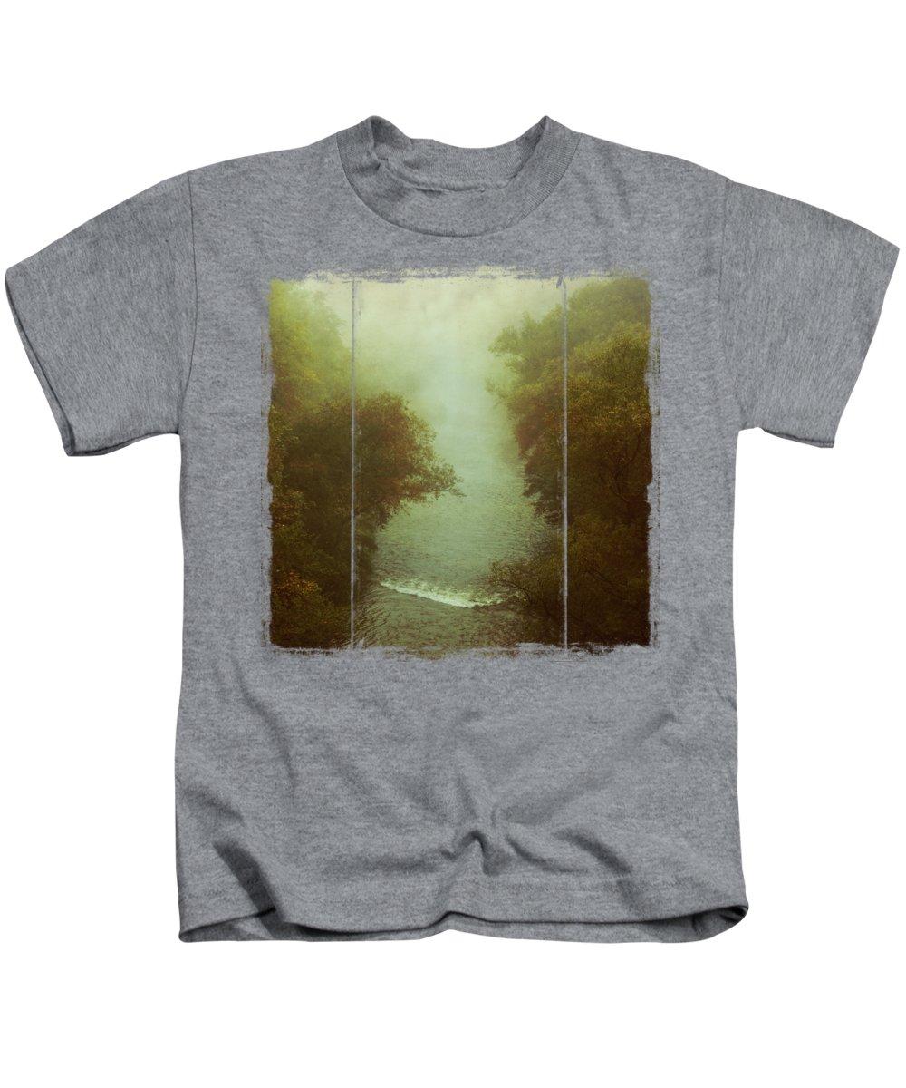 Autumn Kids T-Shirt featuring the photograph River In Fog by Dirk Wuestenhagen