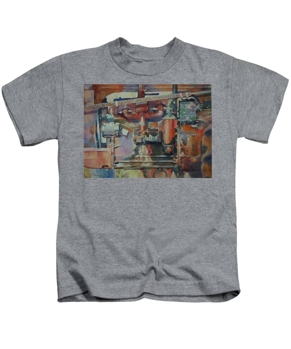 Still Life Kids T-Shirt featuring the painting Rusty Engine by Hwang-Nam Chang
