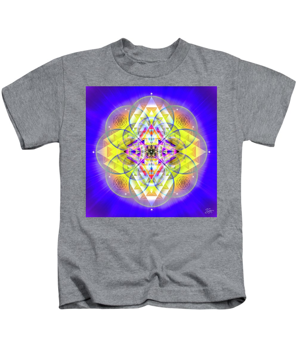 Endre Kids T-Shirt featuring the digital art Sacred Geometry 731 by Endre Balogh