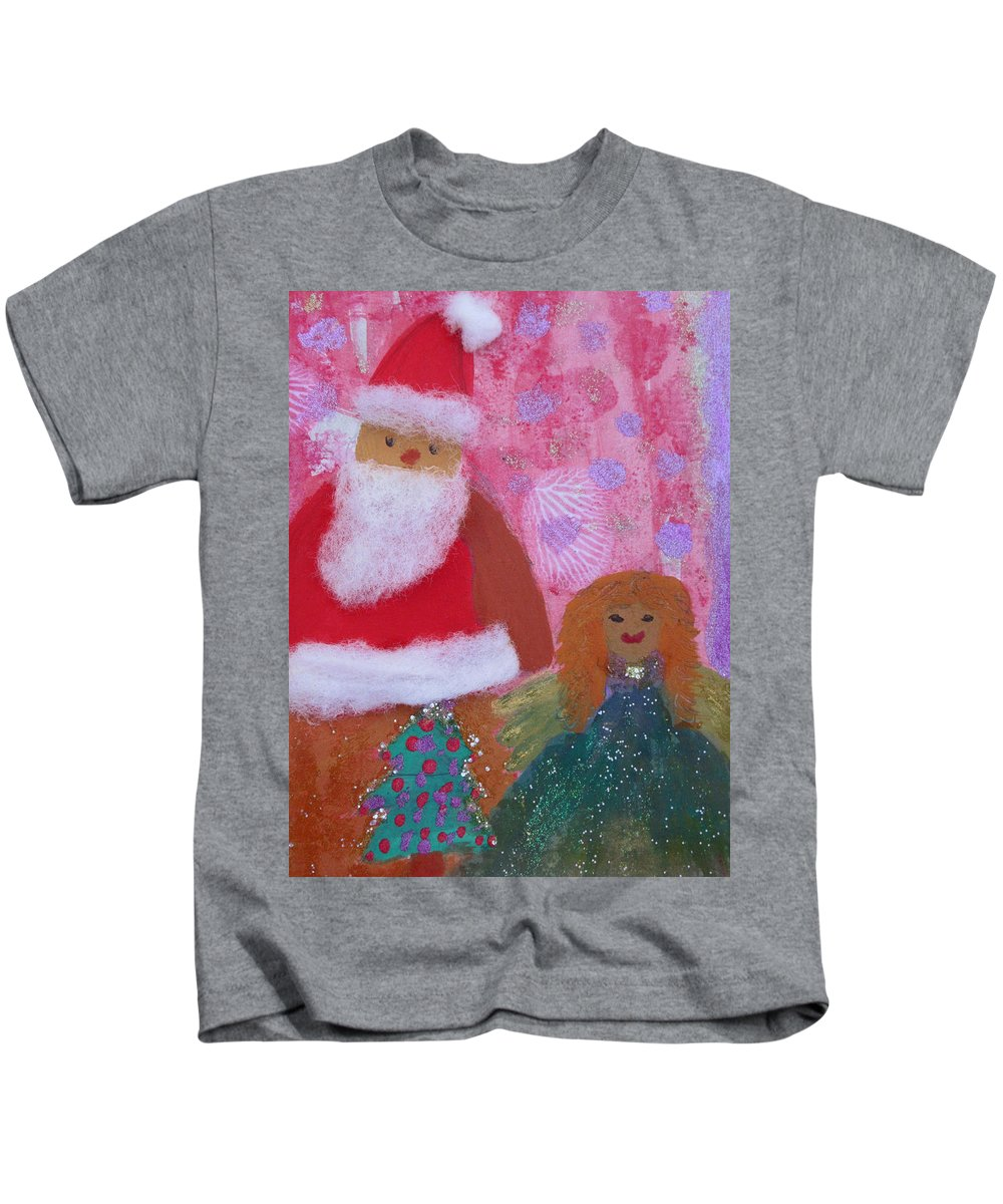 Santa Claus Kids T-Shirt featuring the painting Santa Claus And Guardian Angel - Pintoresco Art By Sylvia by Sylvia Pintoresco