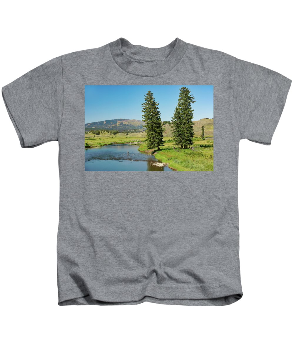 Slough Creek Kids T-Shirt featuring the photograph Slough Creek by Todd Klassy