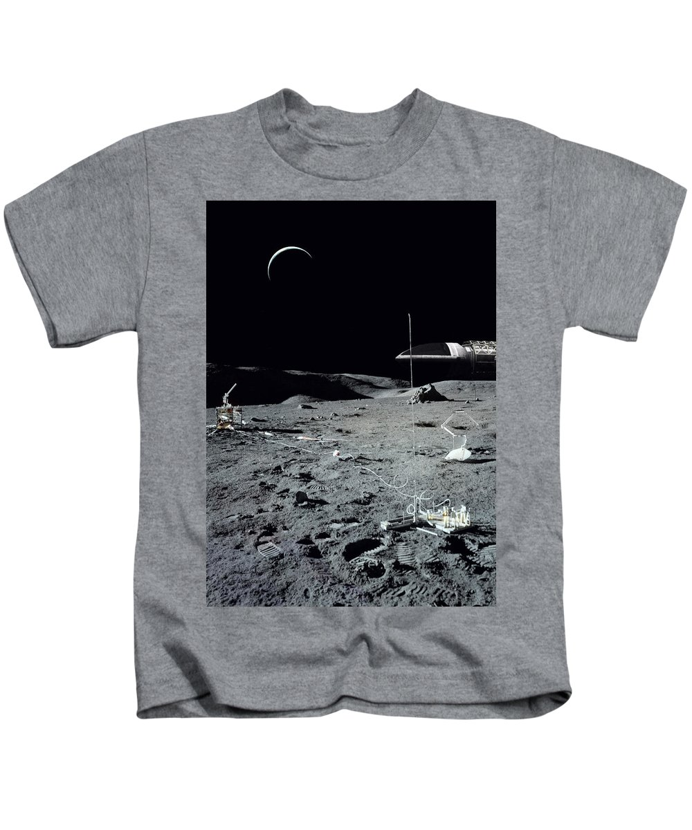 Scifi Kids T-Shirt featuring the digital art Space 1999 Eagle 2 by Andrea Gatti