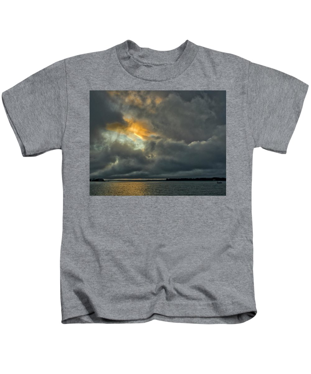 Clouds Kids T-Shirt featuring the photograph Storm Approaches At Sunset by David Kay
