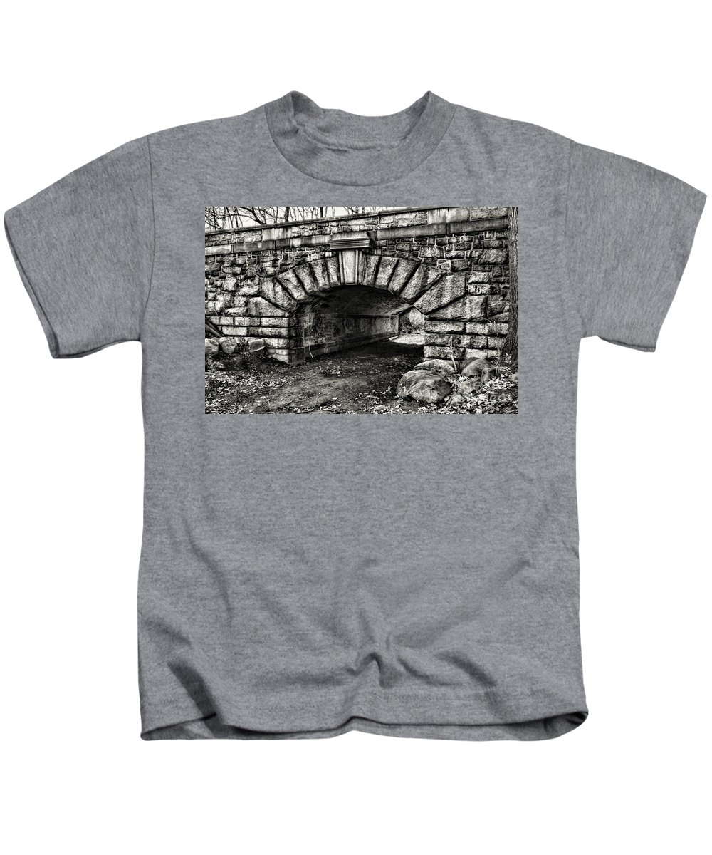 Paul Ward Kids T-Shirt featuring the photograph The Underpass Black And White by Paul Ward