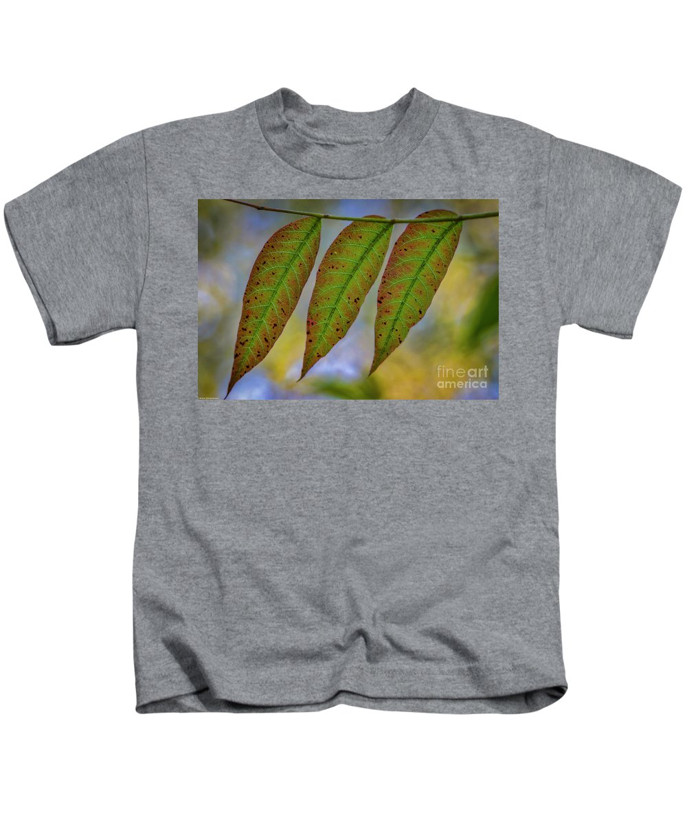 Three Leaveslleaf Kids T-Shirt featuring the photograph Three Leaves by Mitch Shindelbower
