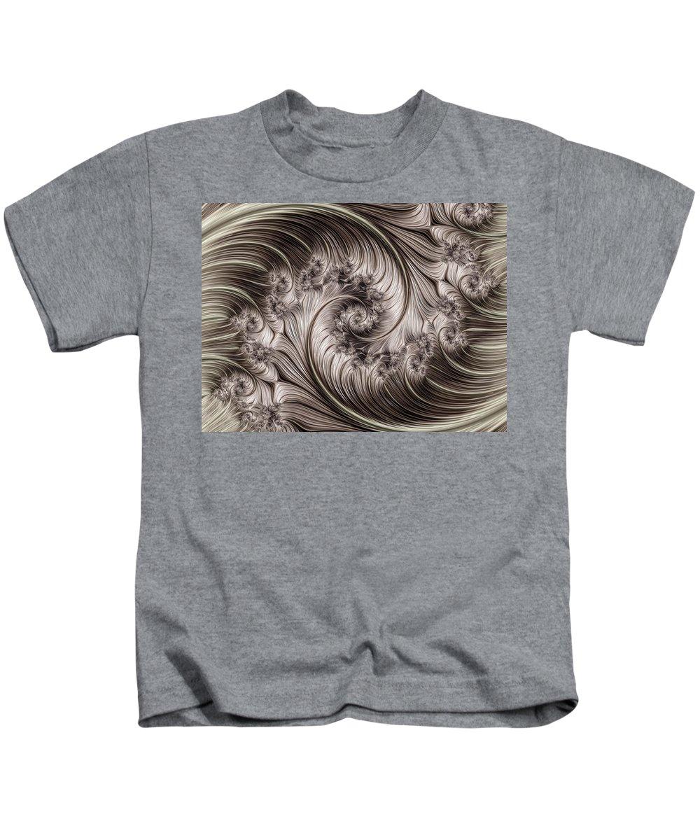 Fractal Kids T-Shirt featuring the digital art Titanium Double Fractal Spiral by Hakon Soreide