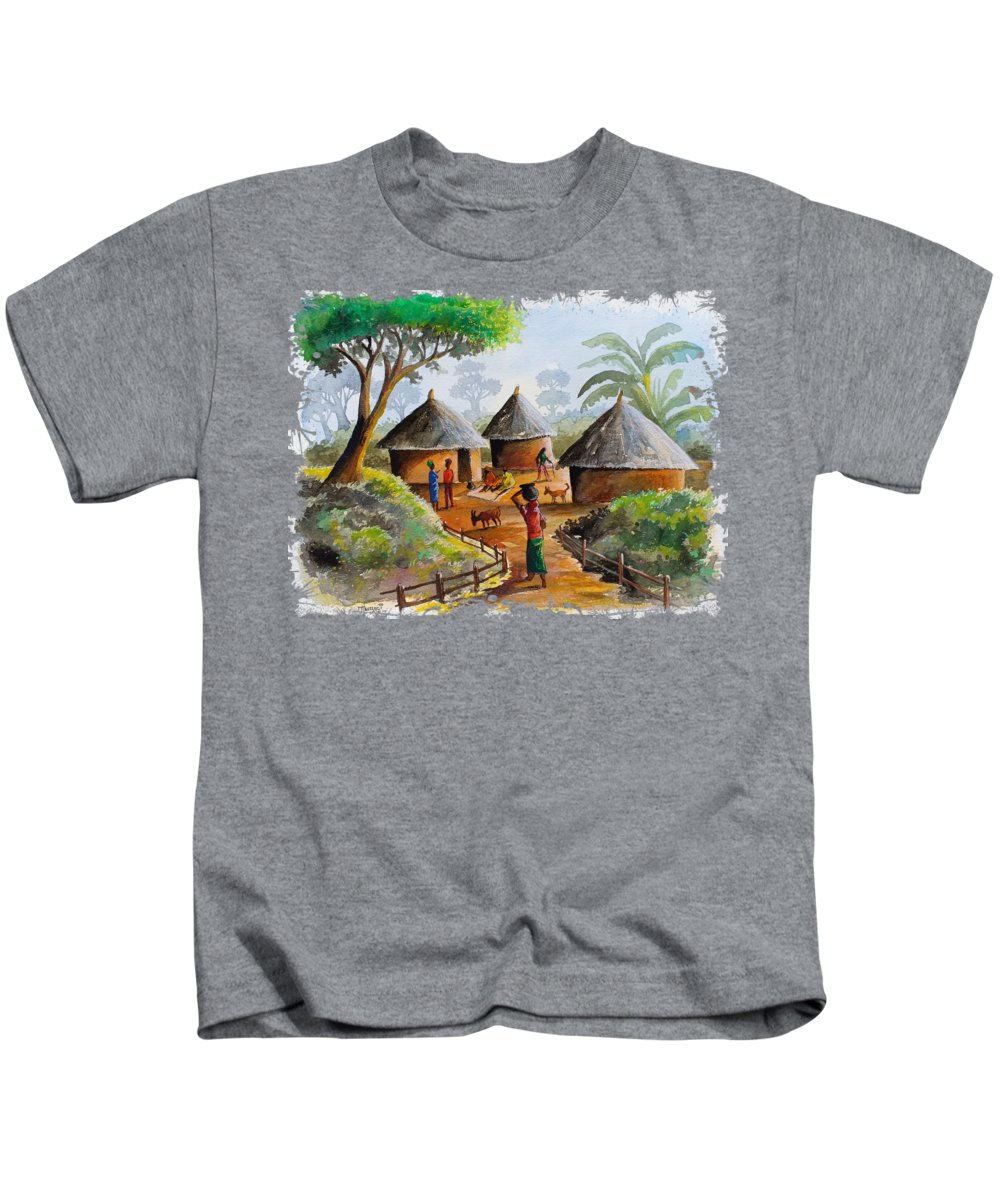 Kenya Painting Kids T-Shirt featuring the painting Traditional Village by Anthony Mwangi
