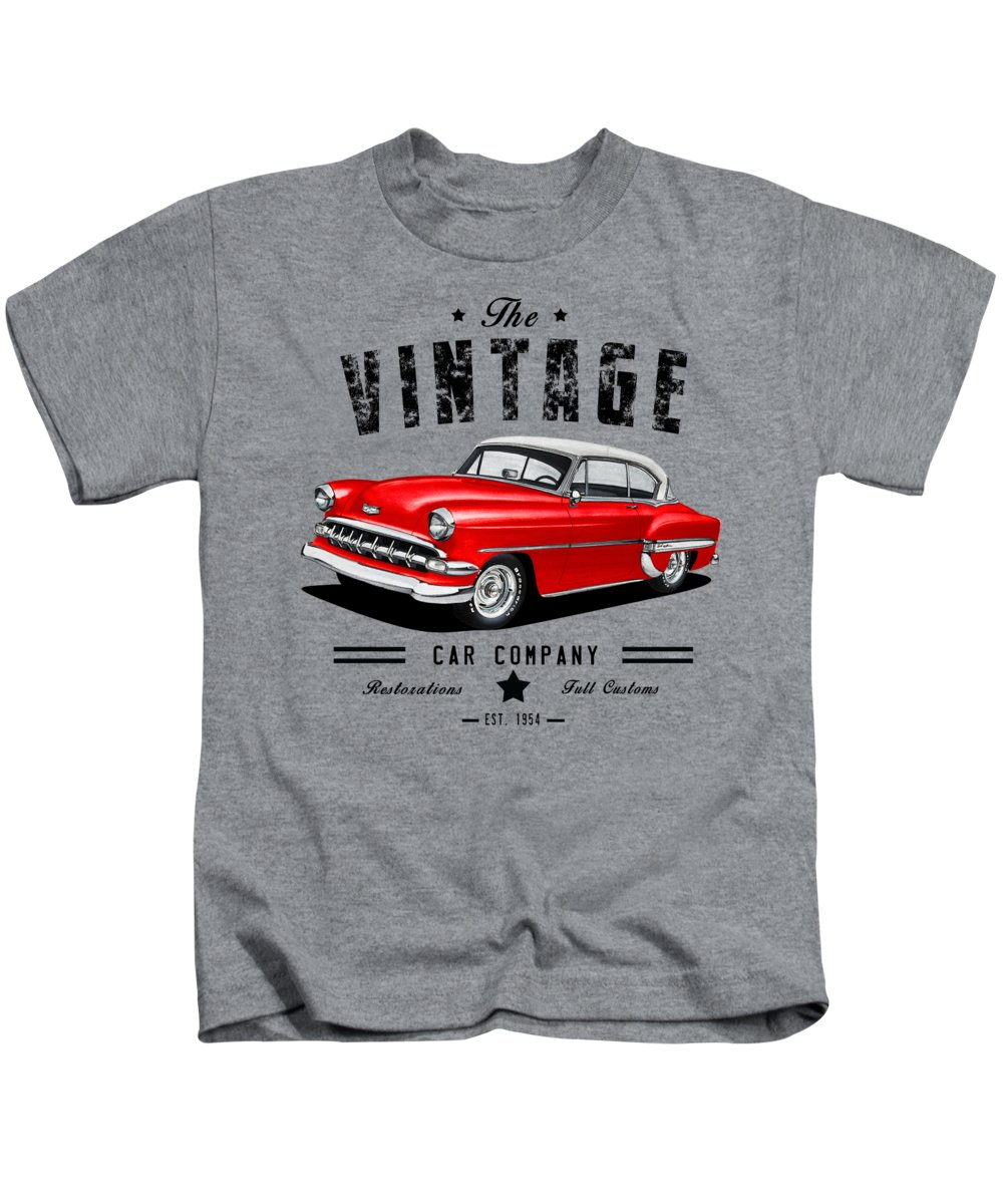 Vintage Kids T-Shirt featuring the mixed media Vintage Hardtop Co. by Paul Kuras