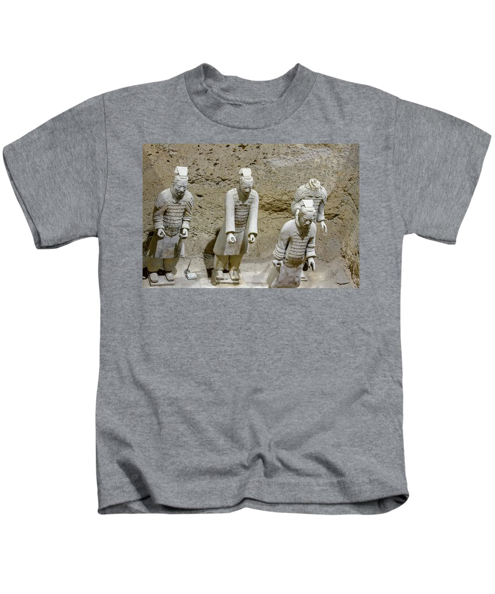 Warrior Kids T-Shirt featuring the photograph Warriors Of Pit 2, Xian, China by Karen Foley