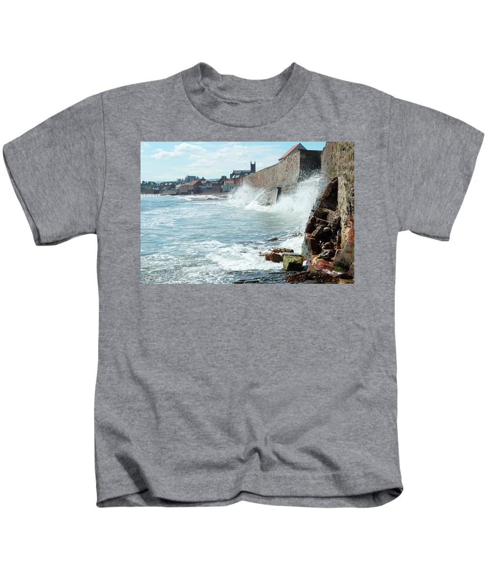 Waves Kids T-Shirt featuring the photograph Waves Crashing Against Sea Wall by Victor Lord Denovan