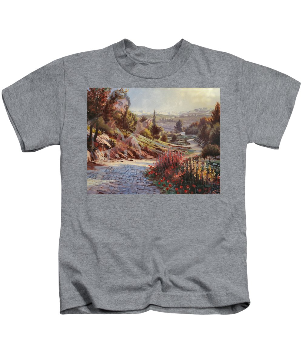 Jesus Kids T-Shirt featuring the painting We Will Walk In His Paths 2 by Graham Braddock