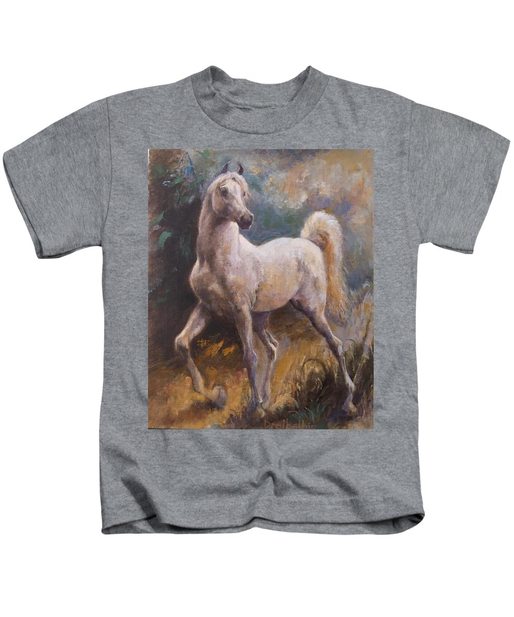 Horse Kids T-Shirt featuring the painting White Arabian by Ellen Dreibelbis