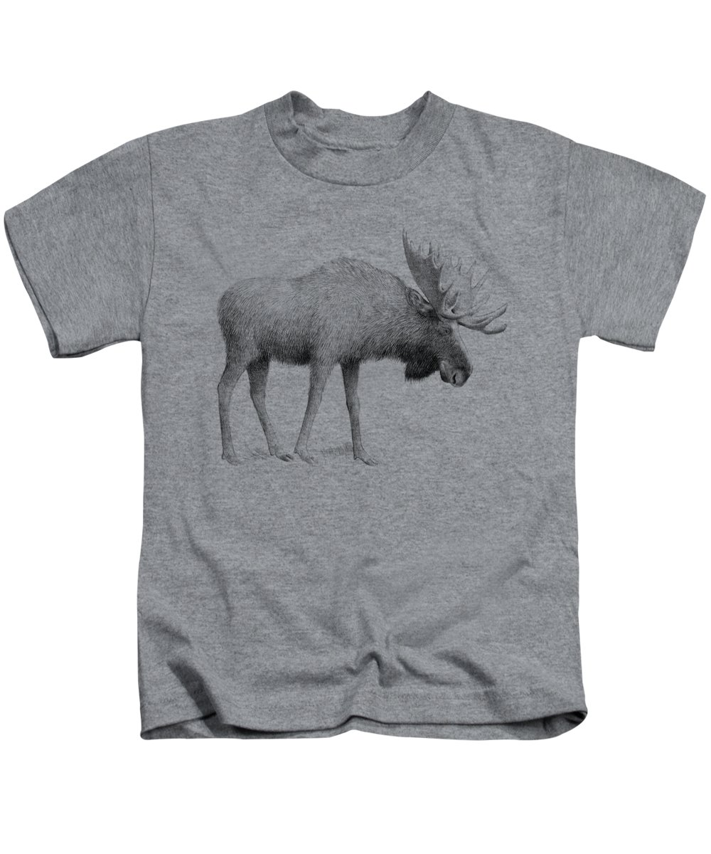 Moose Kids T-Shirt featuring the drawing Winter Moose by Eric Fan