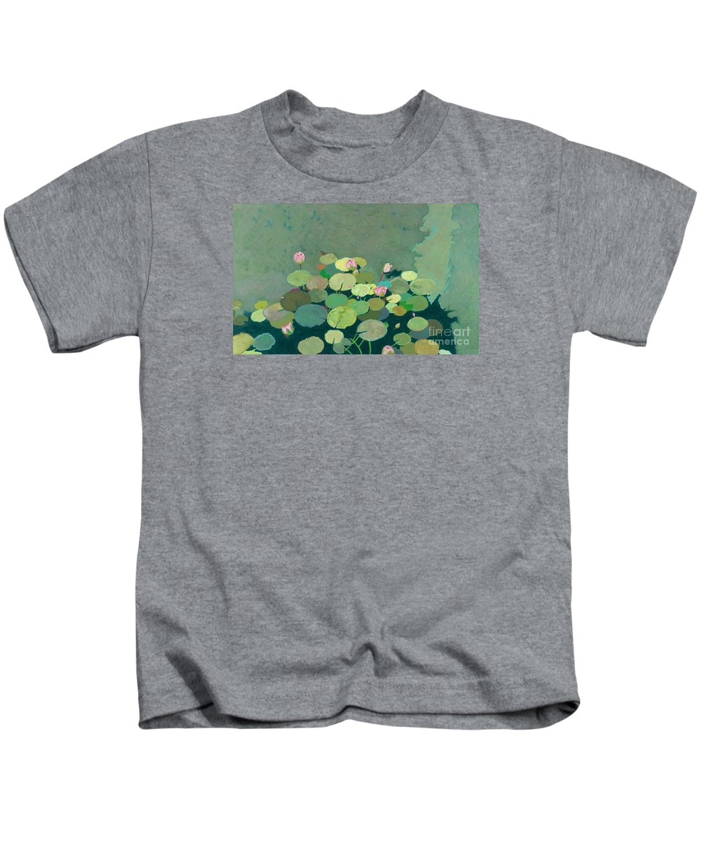 Landscape Kids T-Shirt featuring the painting Bettys Serenity Pond by Allan P Friedlander