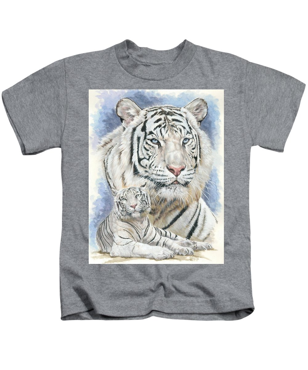 Big Cat Kids T-Shirt featuring the mixed media Dignity by Barbara Keith