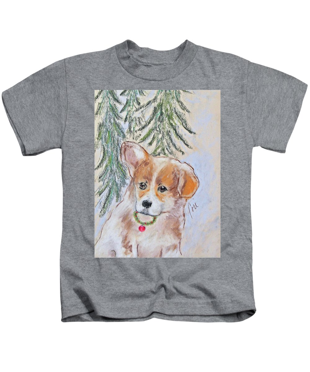 Pastel Kids T-Shirt featuring the drawing First Christmas by Cori Solomon