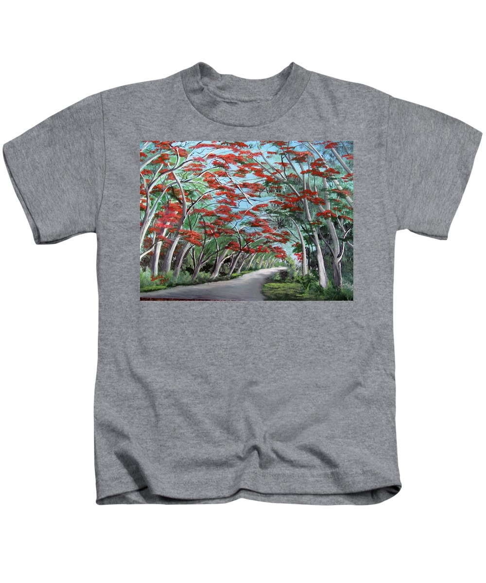 Flamboyan Kids T-Shirt featuring the painting Flamboyanes by Luis F Rodriguez