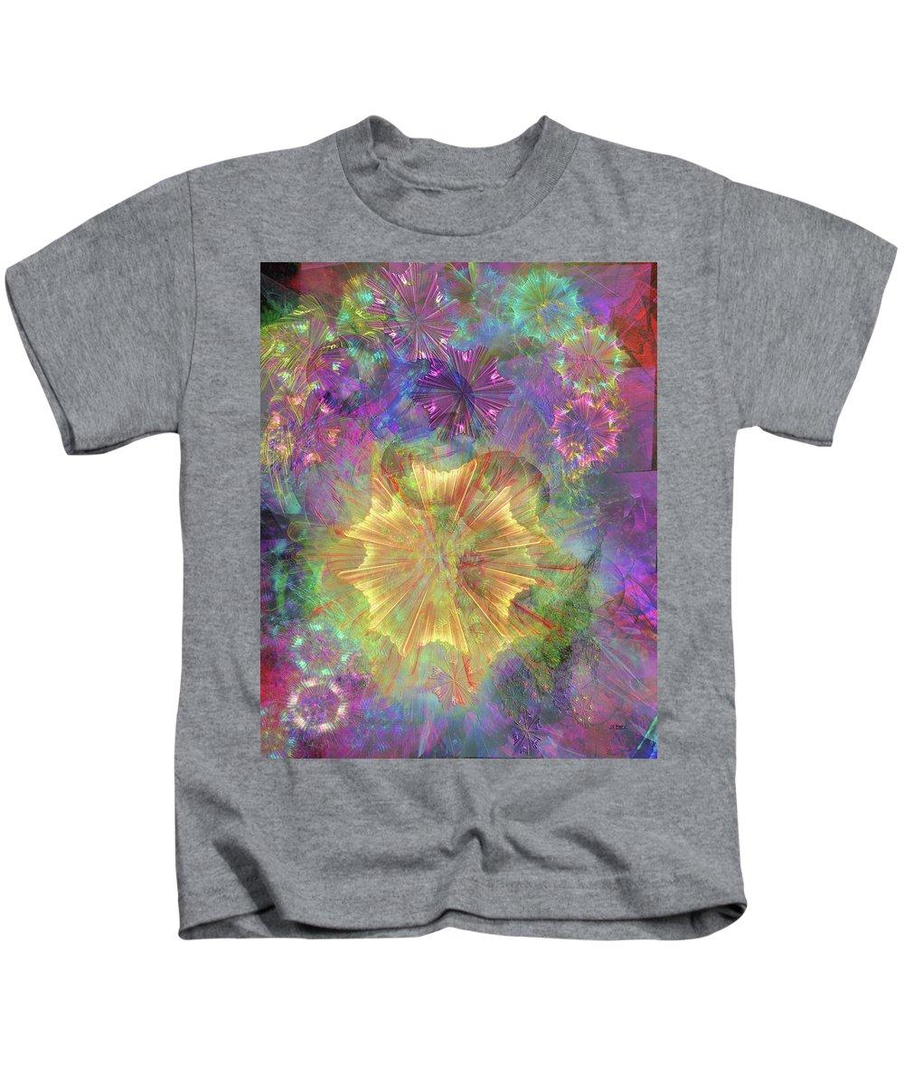 Flowerworks Kids T-Shirt featuring the digital art FlowerWorks by John Robert Beck