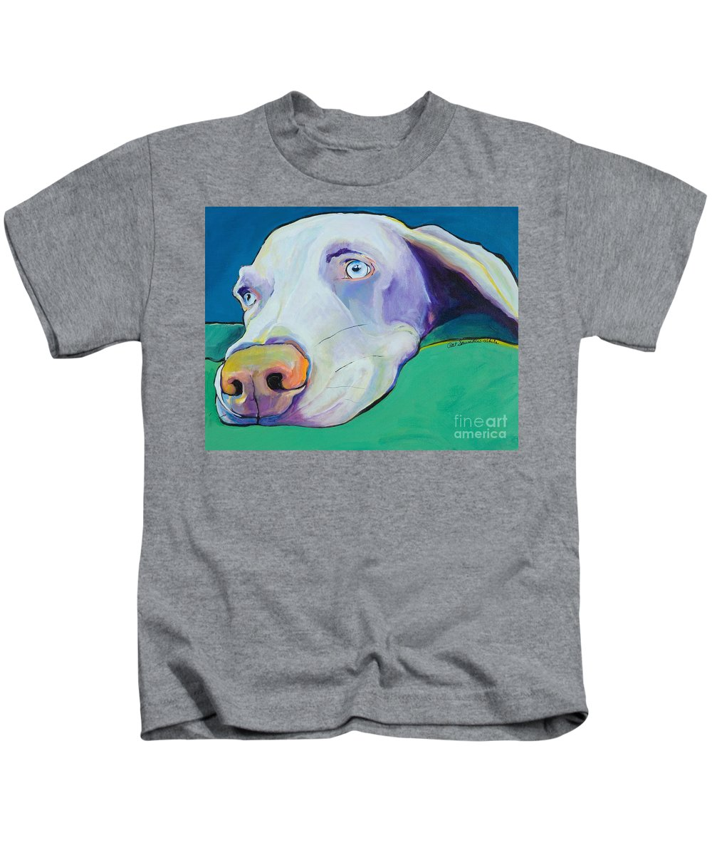 Pat Saunders-white Kids T-Shirt featuring the painting Fritz by Pat Saunders-White