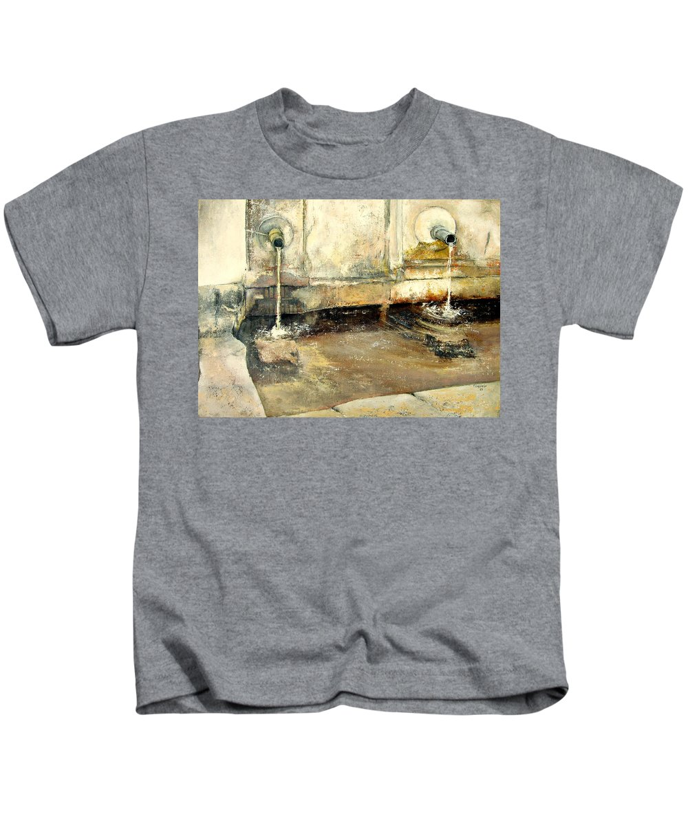 Fuente Kids T-Shirt featuring the painting Fuente by Tomas Castano