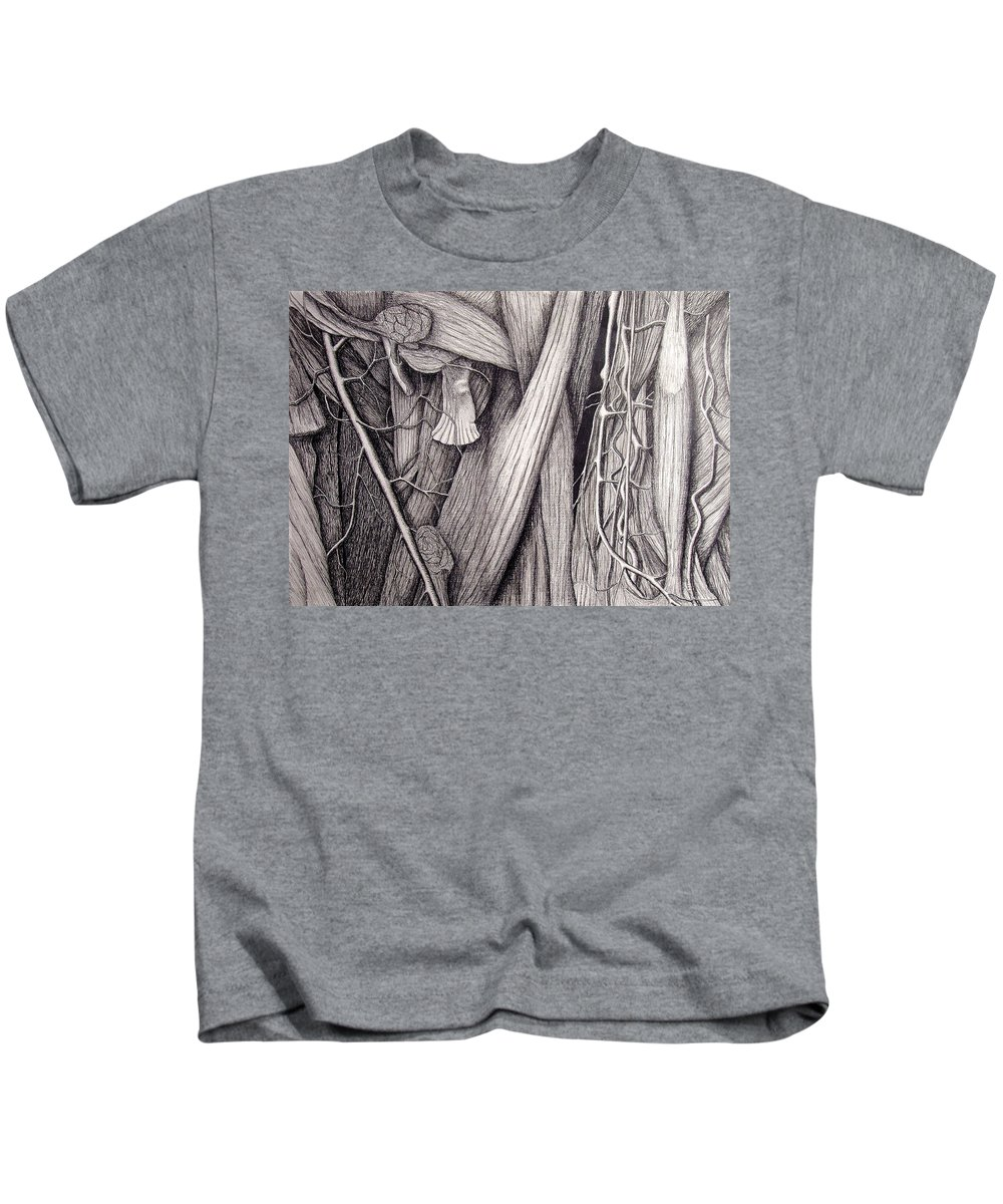 Veins Kids T-Shirt featuring the drawing Internal Scape by Nancy Mueller