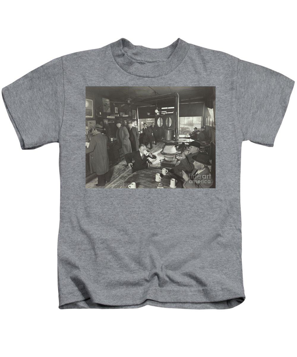 Abbott Kids T-Shirt featuring the photograph Mcsorleys Ale House, 15 East 7th Street, New York City, 1937 by Berenice Abbott