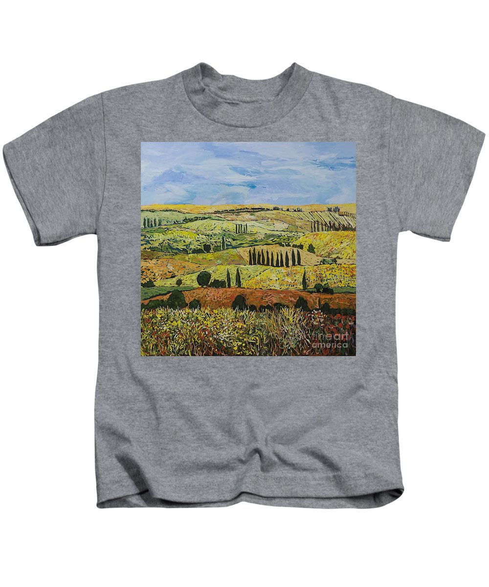 Landscape Kids T-Shirt featuring the painting October Liberation by Allan P Friedlander