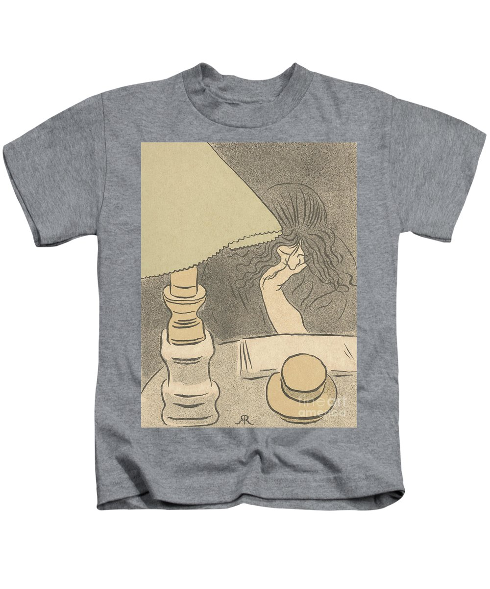 Reader With A Lamp Kids T-Shirt featuring the painting Reader With A Lamp, 1895 by Jozsef Rippl-Ronai