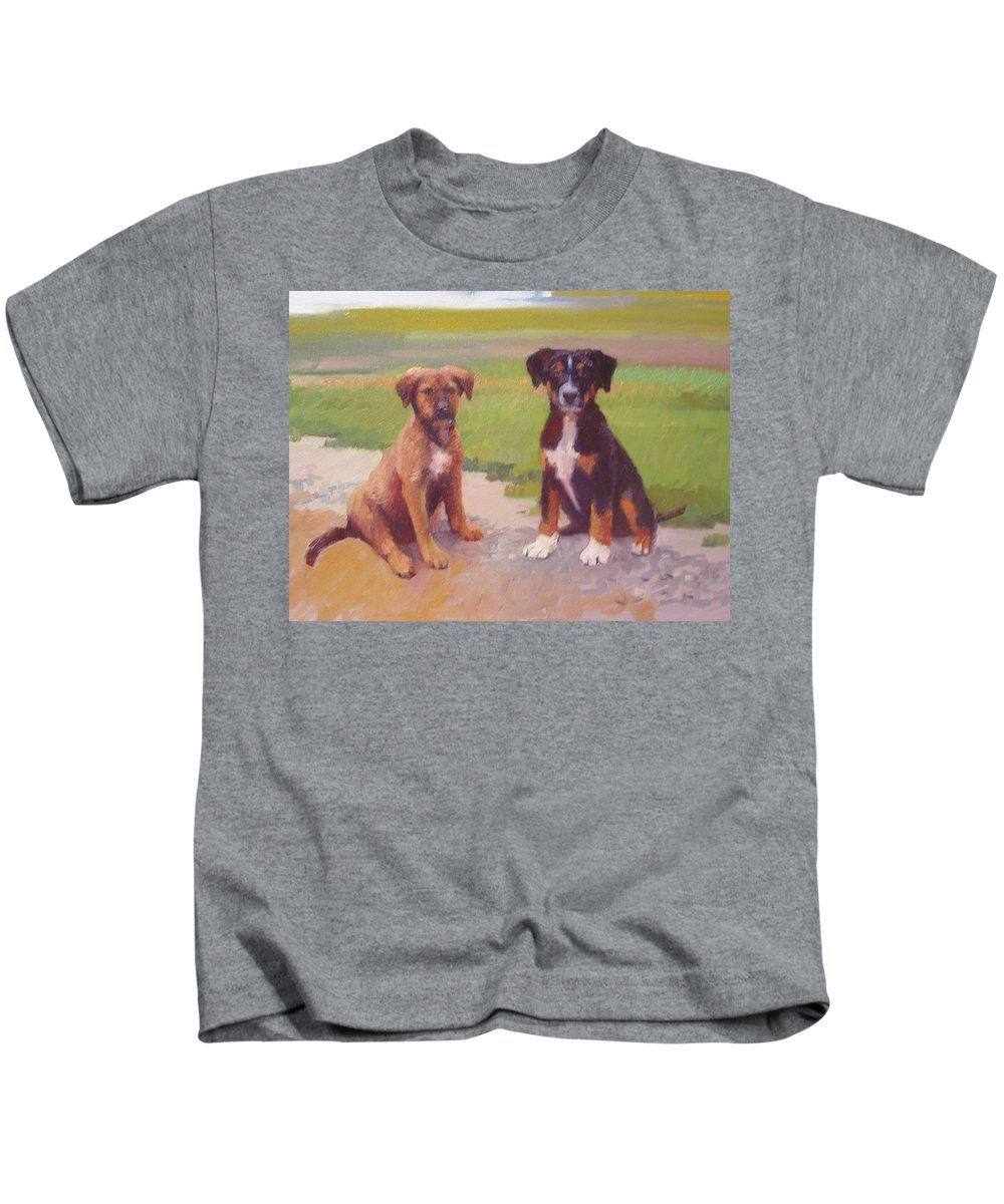 Pet Portrait Kids T-Shirt featuring the painting Rusty And Bandit by Dianne Panarelli Miller