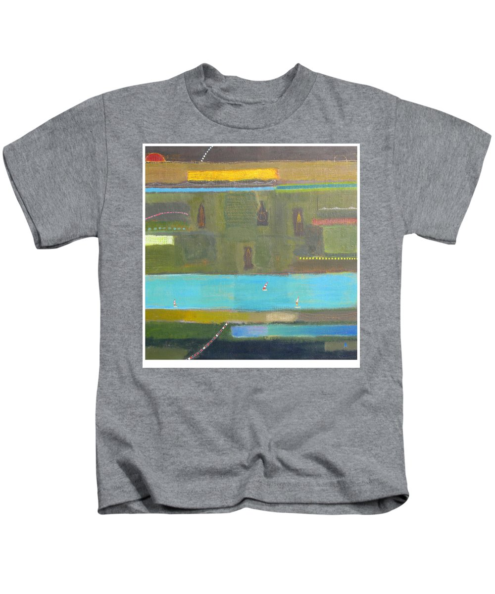New York City Cityscape Painting Kids T-Shirt featuring the painting The Big Apple by Habib Ayat