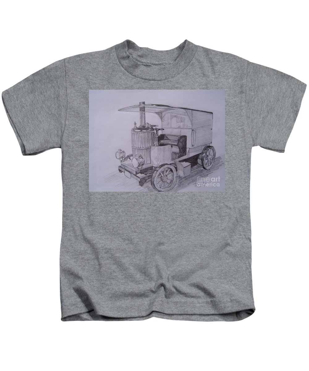 Automobile Kids T-Shirt featuring the drawing The Steamer by Anthony Dunphy