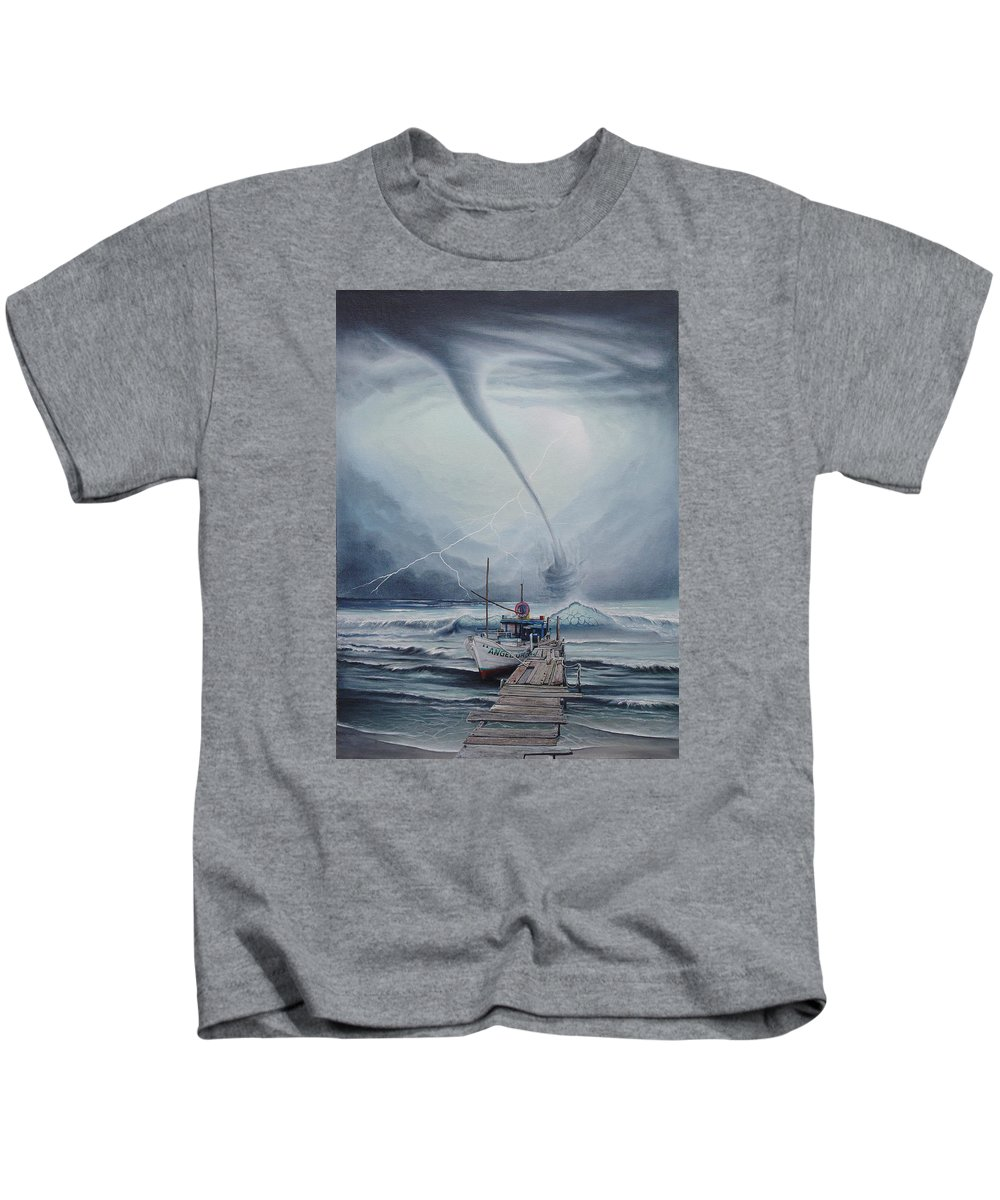 Seascape Kids T-Shirt featuring the painting Tifon   water sprout by Angel Ortiz