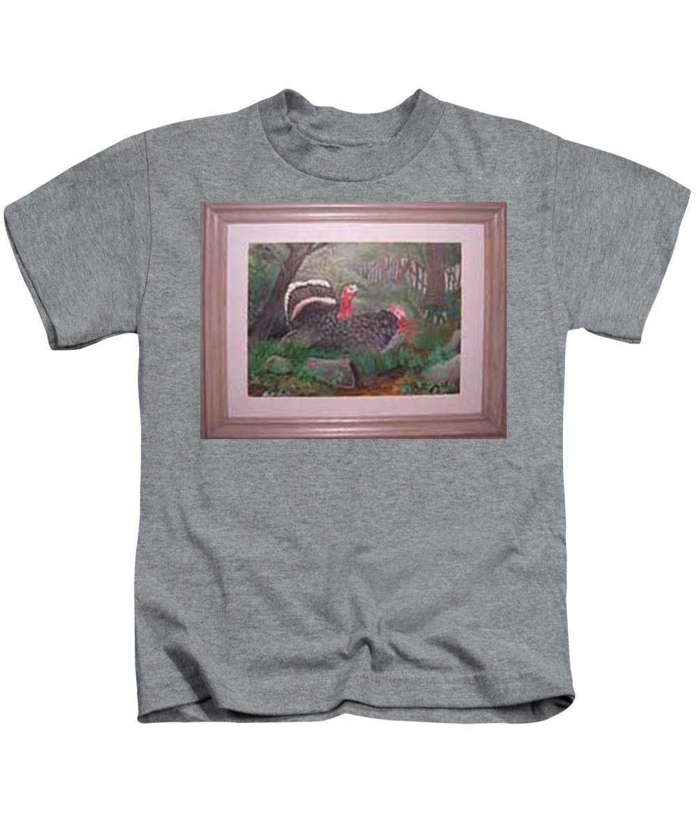 Rick Huotari Kids T-Shirt featuring the painting Turkeys by Rick Huotari