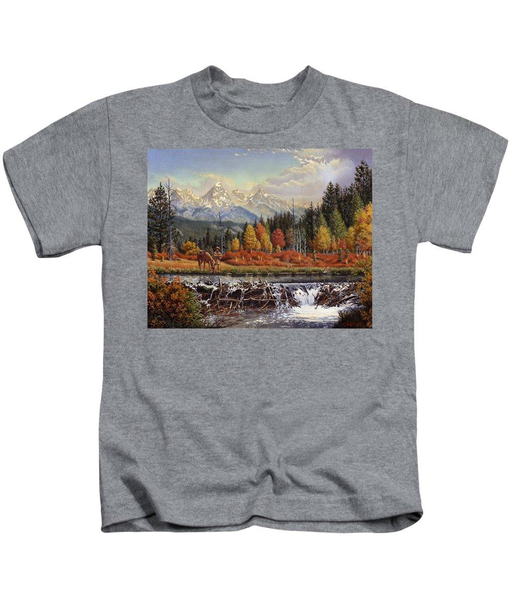 Western Mountain Landscape Kids T-Shirt featuring the painting Western Mountain Landscape Autumn Mountain Man Trapper Beaver Dam Frontier Americana Oil Painting by Walt Curlee