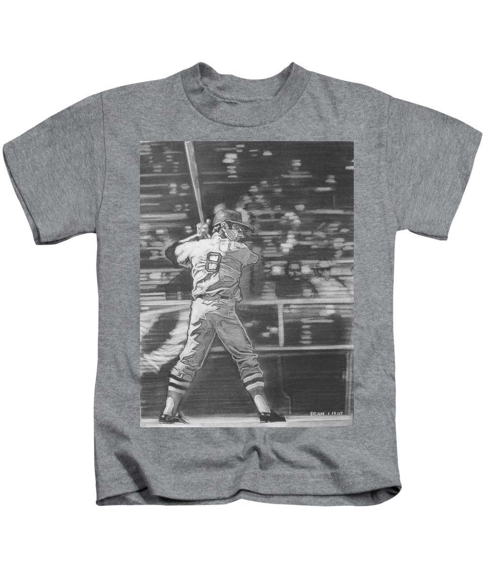 Charcoal On Paper Kids T-Shirt featuring the drawing Yaz - Carl Yastrzemski by Sean Connolly