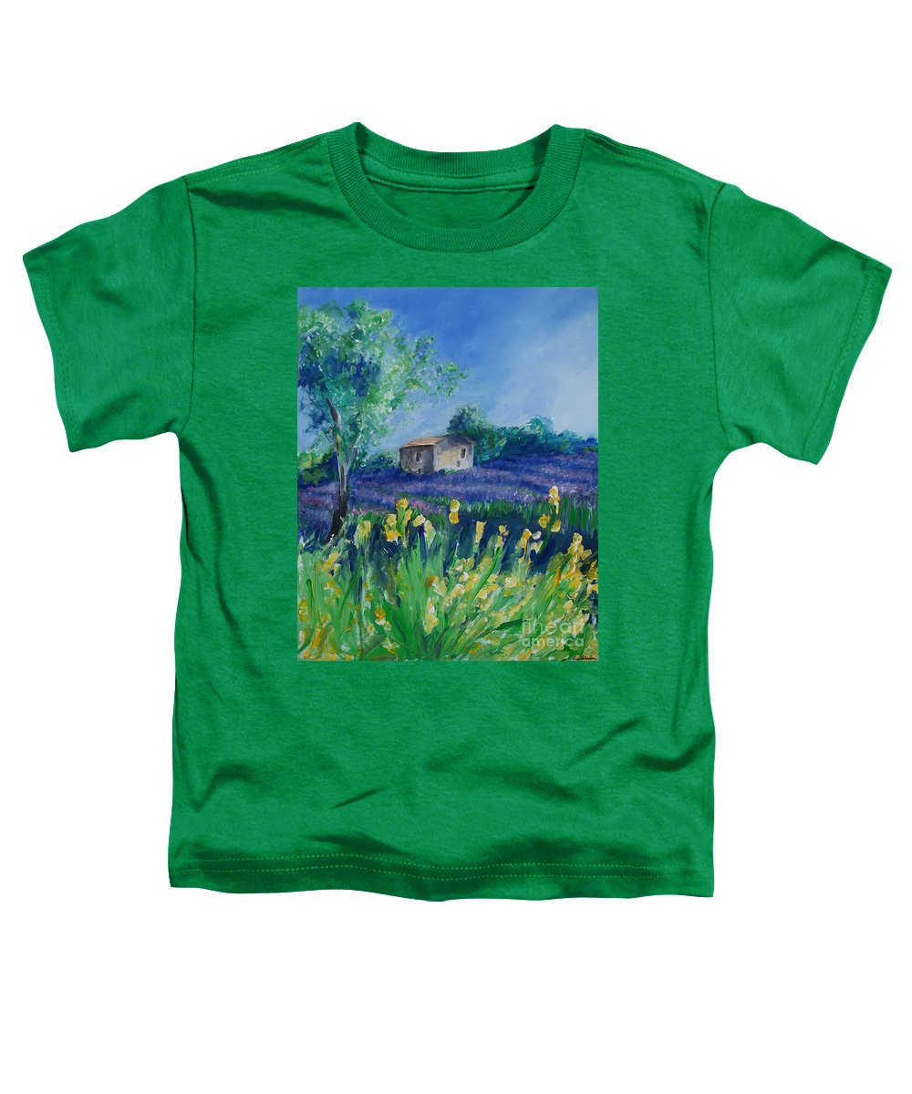 Provence Toddler T-Shirt featuring the painting Provence Lavender Field by Eric Schiabor