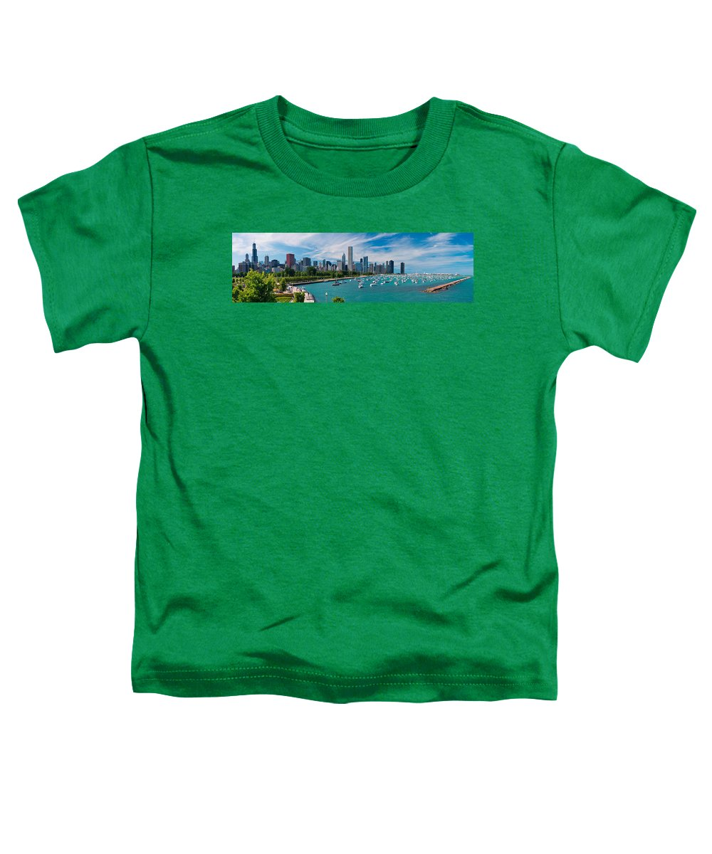 3scape Toddler T-Shirt featuring the photograph Chicago Skyline Daytime Panoramic by Adam Romanowicz