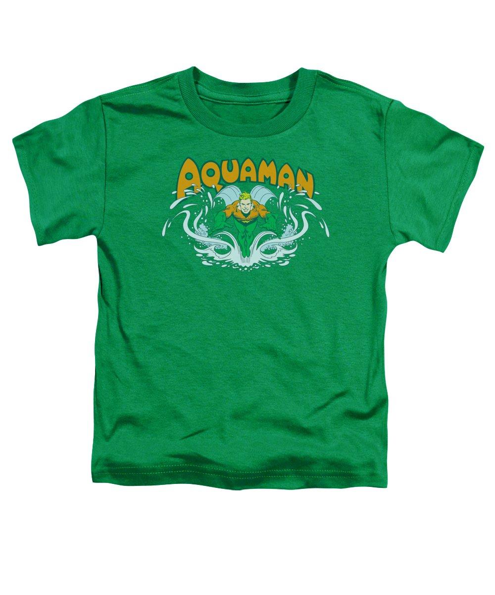 Dc Comics Toddler T-Shirt featuring the digital art Dc - Aquaman Splash by Brand A