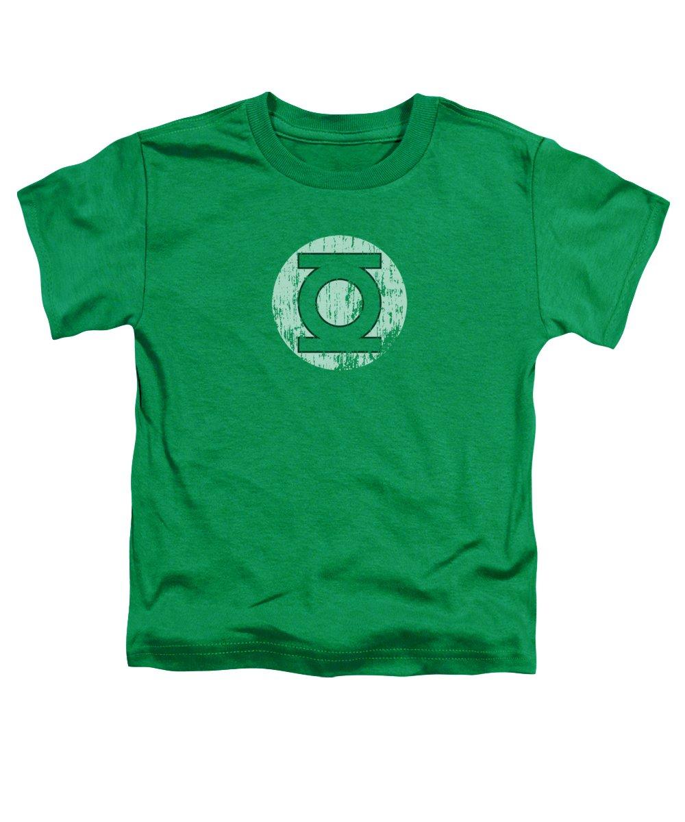 Green Lantern Toddler T-Shirt featuring the digital art Dc - Distressed Lantern Logo by Brand A