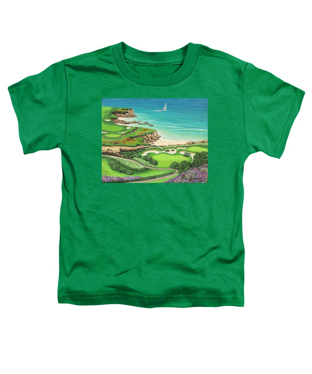 Ocean Toddler T-Shirt featuring the painting Newport Coast by Jane Girardot