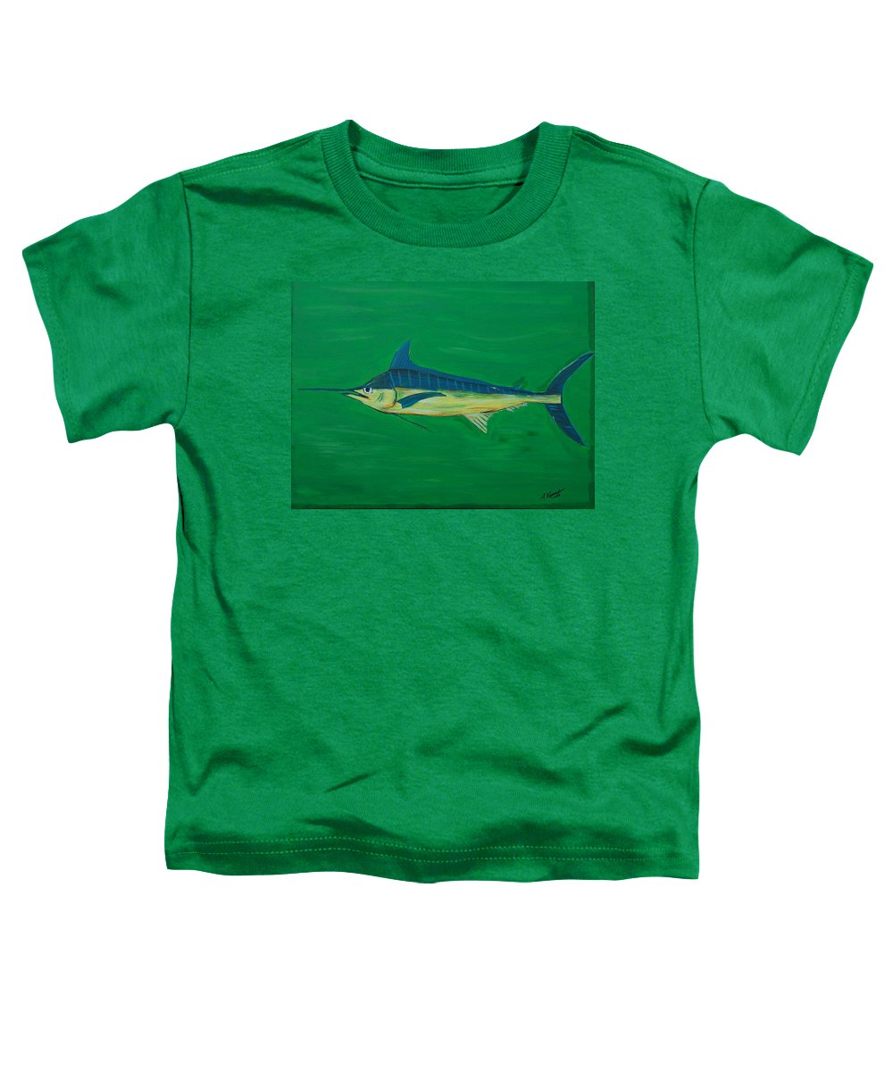 Blue Marlin Toddler T-Shirt featuring the painting Big Fish by Angela Miles Varnado